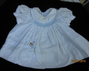 Cotton-blend smocked play-dress for a little girl--by Tiny Town, 1960s