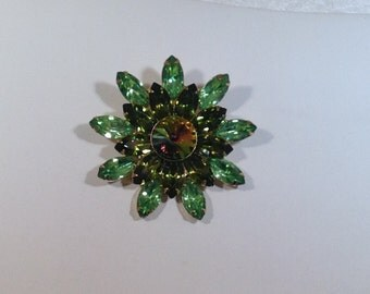 Green Watermelon Stone Brooch