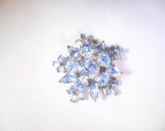 Vintage Blue Aurora Borealis Rhinestone Pin
