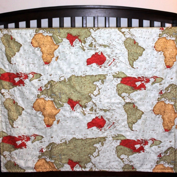 Baby map quilt travel baby bedding world map quilt by namijane for World crib bedding