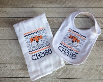 Tiger burp cloth and bib set