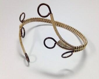 Brass & Bronze Wrapped Cuff, Adjustable Bracelet