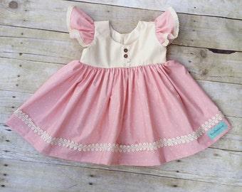 Baby Girls Pink Birthday Dress -Toddler Spring  Dress - Girls Twirl Dress - girls Ruffle dress - Babys 1st Birthday Dress - Baby Photo Prop