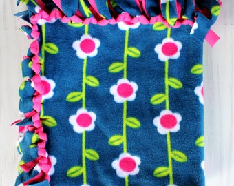 Pet Blanket//Small Tie Blanket  - Navy and Pink Flowers