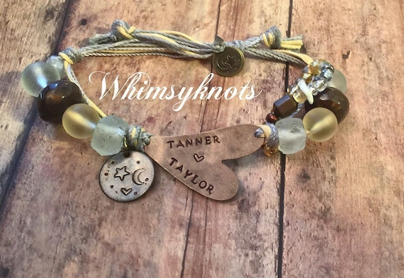 "Love you--""to the moon and back""bracelet/ jewelry/ heart shaped jewelry/ Perfect  Personalize gift. custom Hand-Stamped Jewelry"