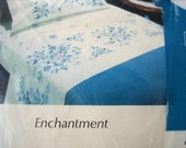 Vintage 100% Cotton Sheet Enchantment by Style House - King Fitted, White w/ Blue Flowers - Quilt Fabric!