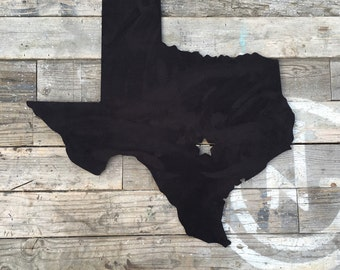 Laser Cut Texas State Wall Art (Black Suede), Recycled Wood, Texas Decor, Wooden Texas Cutout, State Signs, Wall Decor
