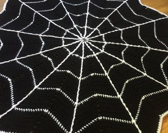 Spider Web Baby Blanket - Crochet Halloween Blanket - Ready to Ship - Cobweb - Unique Baby Gift - Handmade Crochet Afghan