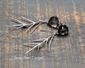 Unique Gray Gem and Pine Branch Earrings, Statement Earrings, Nickel Free, Wedding Jewelry
