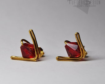 the legend of zelda goron ruby earrings, zelda goron ear studs, nintendo jewelry, gaming jewelry, zelda ocarina of time earrings