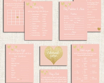 Pink Baby Shower Games Printable Party Package Choose ANY 5 Items, Pink and Gold, Digital, Baby Shower Activity, Price is Right, Bingo, card