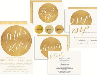 Gold Wedding Invitation Suite Printable, Wedding Invitation, Wedding Invitation set, Wedding Invitation Template, Modern Wedding Invitation