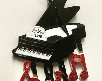 FREE SHIPPING - Piano Personalized Christmas Ornament / Grand Piano Ornament / Music Ornament / Musician Ornament