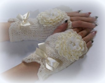 Ivory Knit Gloves Cream Fingerless Mittens Ivory Wedding Winter Accessories Spring Winter Fashion Arm Wrist Warmers Valentines day gift