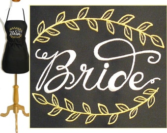 "Bride & Vines Apron 24"" or 30"" Cooking Class Monogram Custom Embroidered Bridal Shower Rustic Wedding"