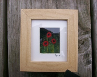 needle felted poppies