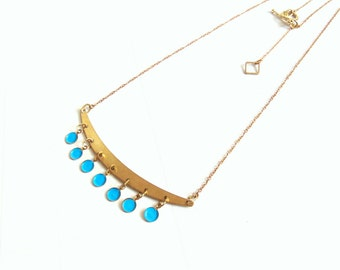 Bubble Necklace, Neon Bubble Necklace, Brass Jewelry
