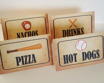 Baseball food labels, baseball food cards, baseball concessions, baseball food tents, food labels, baseball
