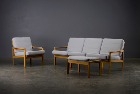 living room set danish modern eilersen illum wikkelso sofa chair oak