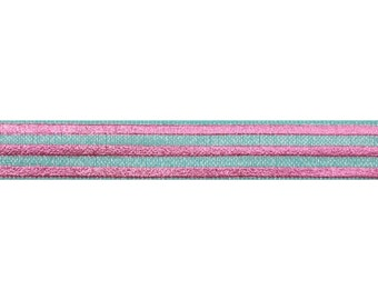 "Sea Foam & Pink Stripes - 5 Yards Metallic Printed FOE - 5/8"" Fold Over Elastic - 5/8-M-224"
