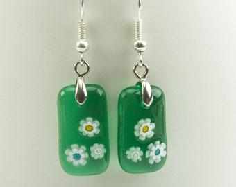 Millefiori Dangle Earrings - Green Venetian Glass
