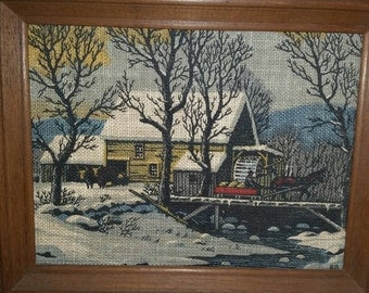 Vintage needlepoint wood framed wall sign winter scene grist mill farmhouse