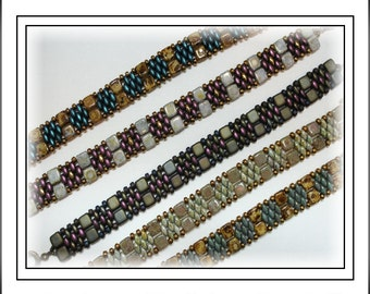 Tutorial ~ Czechmate Tile & SuperDuo Cuff Bracelet by Reggie's Creations ~ Beaded Bracelet Pattern ~ Bead Packs in Listing by SupplyEmporium