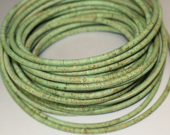 1m Portuguese Cork cord, green tone, 5mm diameter for bracelets or necklaces (1piece: 1m or 39,4 inches) (C5MM-10)