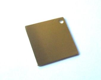 20 gauge brass square stamping blank 1 3/4 in - key ring blank - metal stamping blank - QTY 5