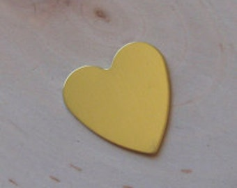 Brass heart blanks - 20 gauge 1/2 inch QTY 5 , stamping blanks, embossing blanks , scrapbooking