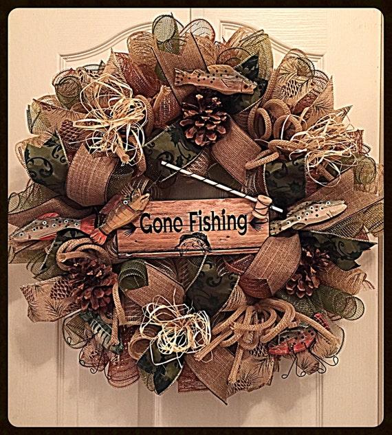 Gone Fishing Deco Mesh Wreath Fishing Wreath Fall