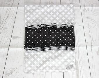 Baby Blanket, Tag Blanket, Ribbon Blanket, Baby Blankets, Lovey, Security Blanket, Modern Baby Blanket, Snuggle Blanket, Blanket With Ribbon