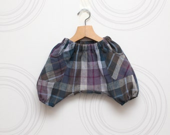 Lilac plaid linen kids haremshorts // Size 6-12month (EU74) up to 6 years (EU116) -Ready to ship