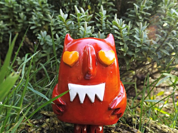 Donny the Devil. Handmade Artist Designed Resin Figure Resin Sculpture.