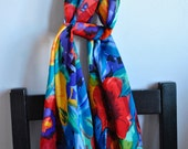 Vintage Multicolor Floral Printed Long Scarf   Semi-Sheer Stripe Polyester Chiffon   Poppy Red Yellow Blue Violet Flowers   Beach Wrap Shawl