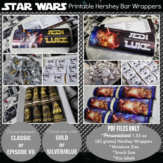 Star Wars Candy Bar Printable | Hershey Wrappers + Kiss Labels ...