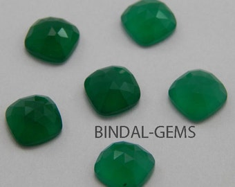 10 Pieces Wholesale Lot Amazing Green Onyx Cushion Shape Rose Cut Loose Gemstone For Jewelry