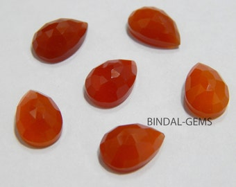 Wholesale Lot 15 Pcs Red Onyx Pear Shape Rose Cut Gemstone For Jewelry
