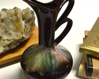 BUYER'S CHOICE Vintage Thulin Style Drip Glaze Pottery Vessel Pitcher Brown Glaze with Pastel Artmark Made in Japan