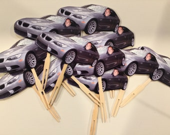 Photo cupcake toppers using a car and face. set of 12