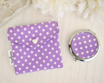 Pocket mirror with liliac pouch