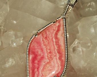 Rhodocrosite pendant in Silver -- PinkPath