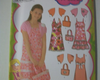 Simplicity 4255 Girls/girls plus (Size AA 8-16) & BB 8 1/2 - 16 1/2) dress with bodice variations, shrug and the bag