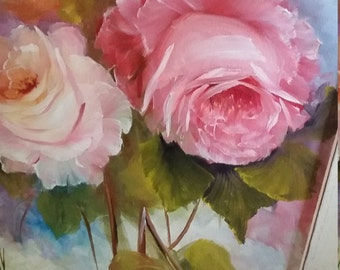 Vintage Shabby Cottage Roses Oil Painting