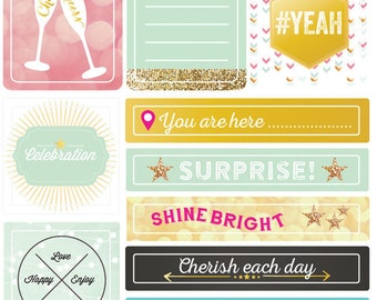 SHIPS FREE!  Webster's Pages #Happy Tag & Prompt Stickers