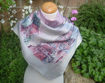 Reserved for P. French Souvenir scarf from Corsica, acetate, pink and green.