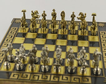 Greek warrior chess set (20X20) / Bronze chess board