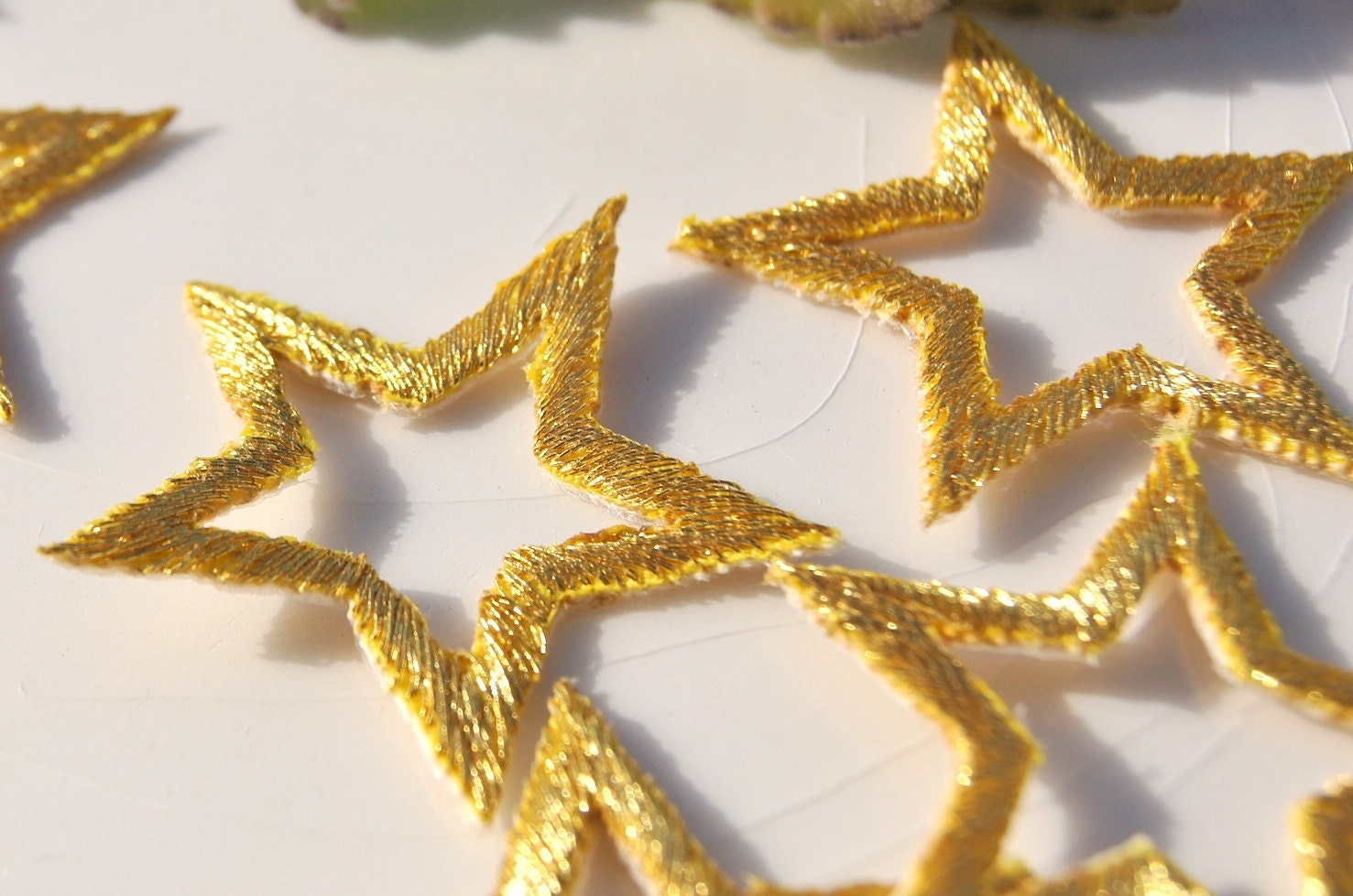 Metallic gold star applique vintage embroidered