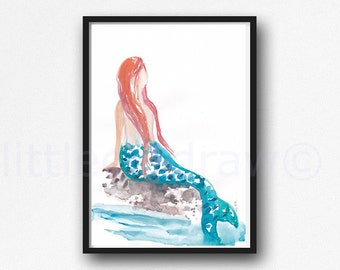Mermaid Painting Abstract Minimalist Watercolor Mermaid Art Print Watercolour Mermaid Painting