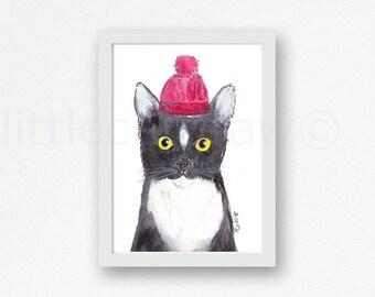 Cat Print Tuxedo Cat Print Black And White Cat Wearing A Woolly Hat Cat Watercolor Painting Art Print Kitty Cat Print Wall Art Wall Decor